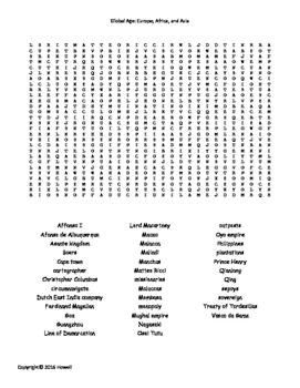 Global Age of Europe, Africa, and Asia Vocabulary Word Search for World History