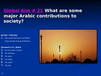 Global Aim # 21 What are some major Arabic contributions t