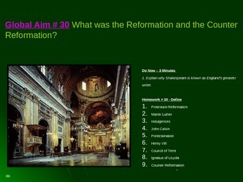 Global Aim # 30 What was the Reformation and the Counter R