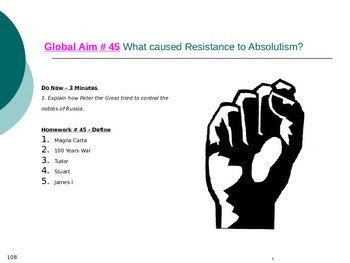 Global Aim # 45 What caused Resistance to Absolutism?