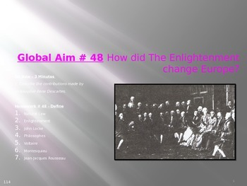 Global Aim # 48 How did The Enlightenment change Europe?