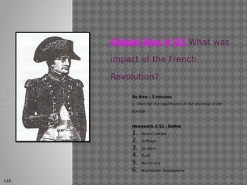 Global Aim # 52 What was impact of the French Revolution?