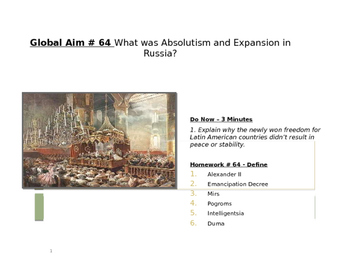 Global Aim # 64 What was Absolutism and Expansion in Russia