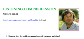 Global Challenges Environment Listening Comprehension Video Nicolas Hulot