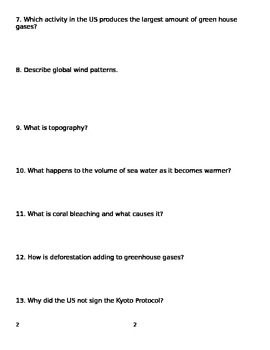 Global Climate Change Study Guide