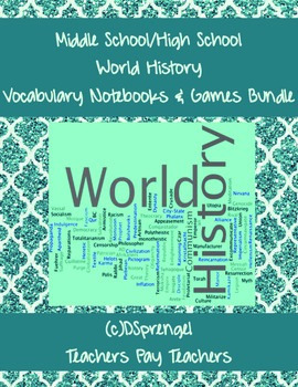 Middle/High School  World History Vocabulary Notebooks for