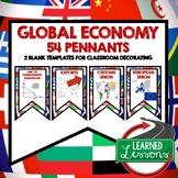 Global Economy Word Wall Pennants (Economics and Free Enterprise)