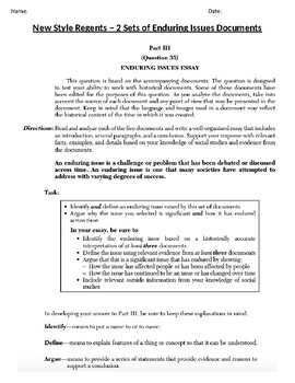 Global - Enduring Issues Essay - New Regents Framework  - 10th Grade