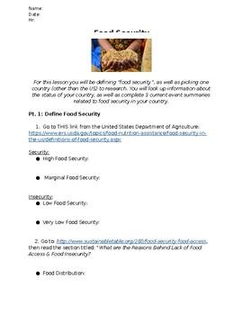 Global Food Security Webquest