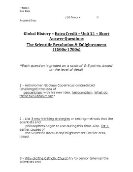 Global History - 10th Grade - Unit 21 - Part 2 of Quiz (Short Answers)