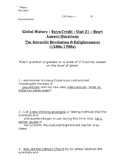 Global History - 10th Grade - Unit 21 - Extra Credit Short Answer Questions
