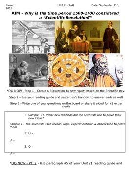 Global History 10th Grade - Unit 21 Scientific Rev/Enlightenment - Day 2 Handout