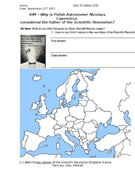 Global History - 10th Grade - Unit 21 - Scientific Rev/Enlightenment - Handout 2