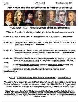 Global History 10th Grade - Unit 21 Scientific Rev/Enlightenment - Day 4 Handout