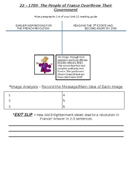 Global History - 10th Grade - Unit 22 - French/Latin American Rev's - Handout 1