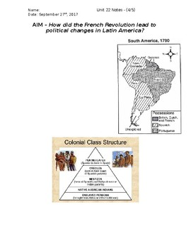 Global History - 10th Grade - Unit 22 - French/Latin American Rev's - Handout 4