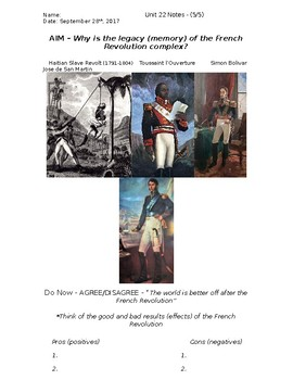 Global History - 10th Grade - Unit 22 - French/Latin American Rev's - Handout 5