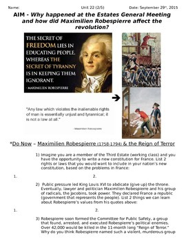 Global History 10th Grade - Unit 22 French/Latin American Revs - Day 2 Handout