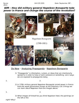 Global History 10th Grade - Unit 22 French/Latin American Revs - Day 3 Handout