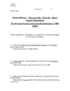 Global History - 10th Grade - Unit 22 - Extra Credit Short Answer Questions