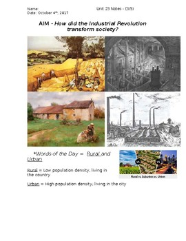 Global History - 10th Grade - Unit 23 - Agrarian/Industrial Rev's - Handout 3