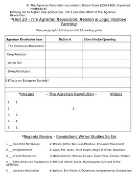 Global History 10th Grade - Unit 23 Agrarian & Industrial Revs - Day 1 Handout