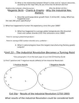 Global History 10th Grade - Unit 23 Agrarian & Industrial Revs - Day 3 Handout