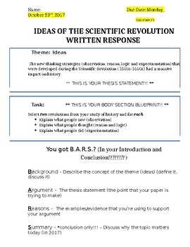 Global History - 10th Grade - Unit 23 - Essay Project Directions
