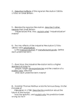 Global History - 10th Grade - Unit 23 - Part 2 of Quiz (Short Answers)