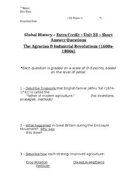 Global History - 10th Grade - Unit 23 - Extra Credit Short Answer Questions