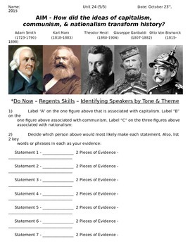 Global History 10th Grade - Unit 24 Capitalism & Communism - Day 5 Handout