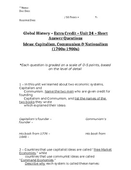Global History - 10th Grade - Unit 24 - Extra Credit Short Answer Questions