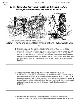 Global History 10th Grade - Unit 25 Age of European Imperialism - Day 1 Handout