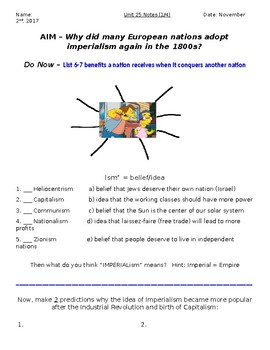 Global History - 10th Grade - Unit 25 - Age of New Imperialism - Handout 1