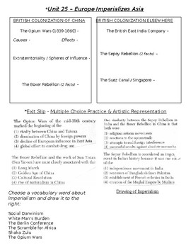 Global History - 10th Grade - Unit 25 - Age of New Imperialism - Handout 3