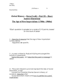 Global History - 10th Grade - Unit 25 - Part 2 of Quiz (Short Answers)