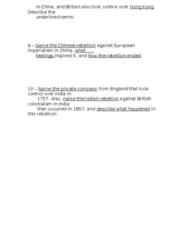 Global History - 10th Grade - Unit 25 - Extra Credit Short Answer Questions