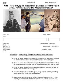 Global History 10th Grade - Unit 26 Meiji Restoration - Day 2 Handout
