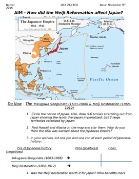 Global History 10th Grade - Unit 26 Meiji Restoration - Day 3 Handout