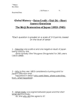 Global History - 10th Grade - Unit 26 - Part 2 of Quiz (Short Answers)