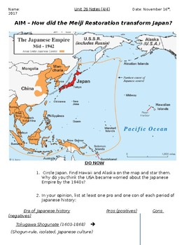 Global History - 10th Grade - Unit 26 - The Meiji Restoration - Handout 4