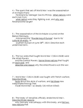 Global History - 10th Grade - Unit 27 - Part 2 of Quiz (Short Answers)