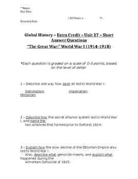 Global History - 10th Grade - Unit 27 - Extra Credit Short Answer Questions