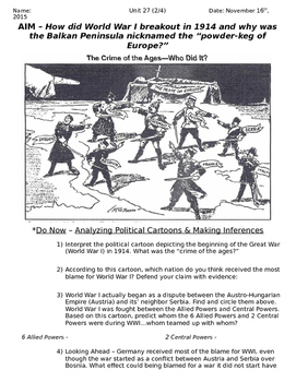 Global History 10th Grade - Unit 27 World War I - Day 2 Handout