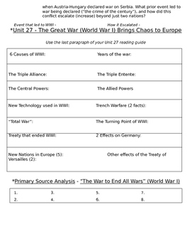 Global History 10th Grade - Unit 27 World War I - Day 3 Handout