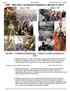Global History 10th Grade - Unit 28 Russian Revolution - Day 1 Handout