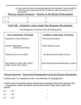Global History 10th Grade - Unit 28 Russian Revolution - Day 2 Handout