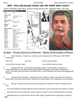 Global History 10th Grade - Unit 28 Russian Revolution - Day 3 Handout