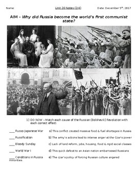 Global History - 10th Grade - Unit 28 - Russian Revolution - Handout 2