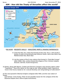Global History 10th Grade - Unit 29 Between the World Wars - Day 1 Handout
